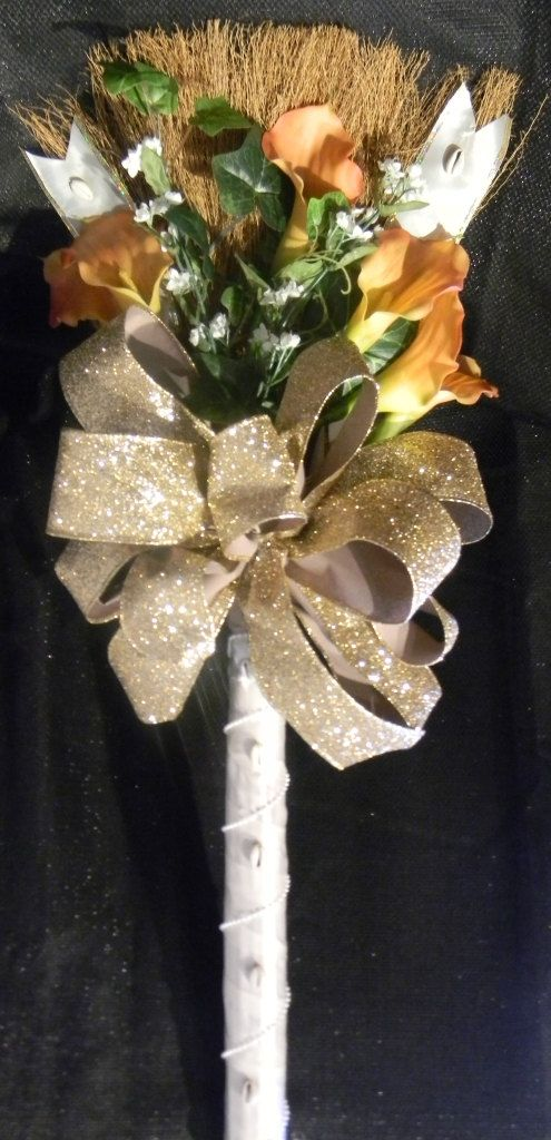 Decorative Wedding Broom with Coral Calla Lillies and White and Gold Accents