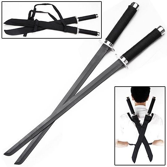 Ninja Strike Force Twin Sword Set w/ Backstrap 18 1/2 inch blade - 25 1/2 in overall