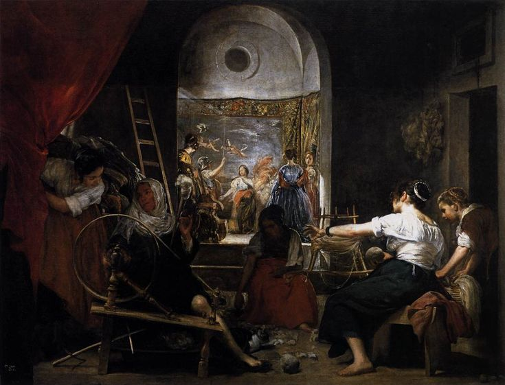 VELÁZQUEZ, Diego Rodriguez de Silva y Spanish painter (b. 1599, Sevilla, d. 1660, Madrid) The Fable of Arachne (Las Hilanderas) c. 1657 Oil on canvas, 220 x 289 cm Museo del Prado, Madrid 🎨🎨🎨