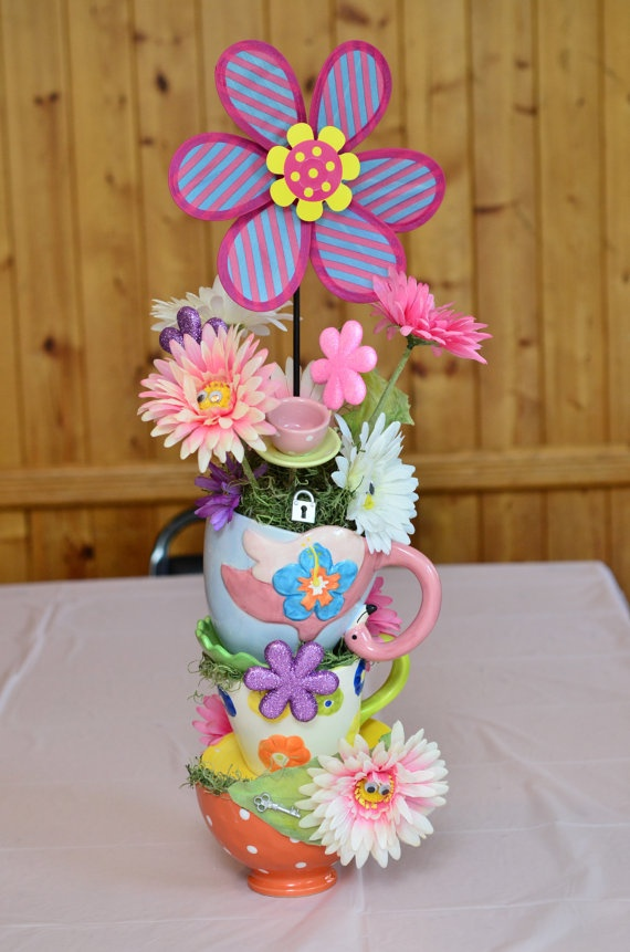 Alice in Wonderland Teacup Centerpiece by AmeliaDesigns13 on Etsy, $50.00
