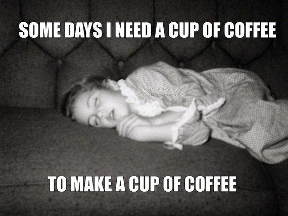 Coffee Meme Card | Sleepy Girl Needs to Wake Up | Need Coffee