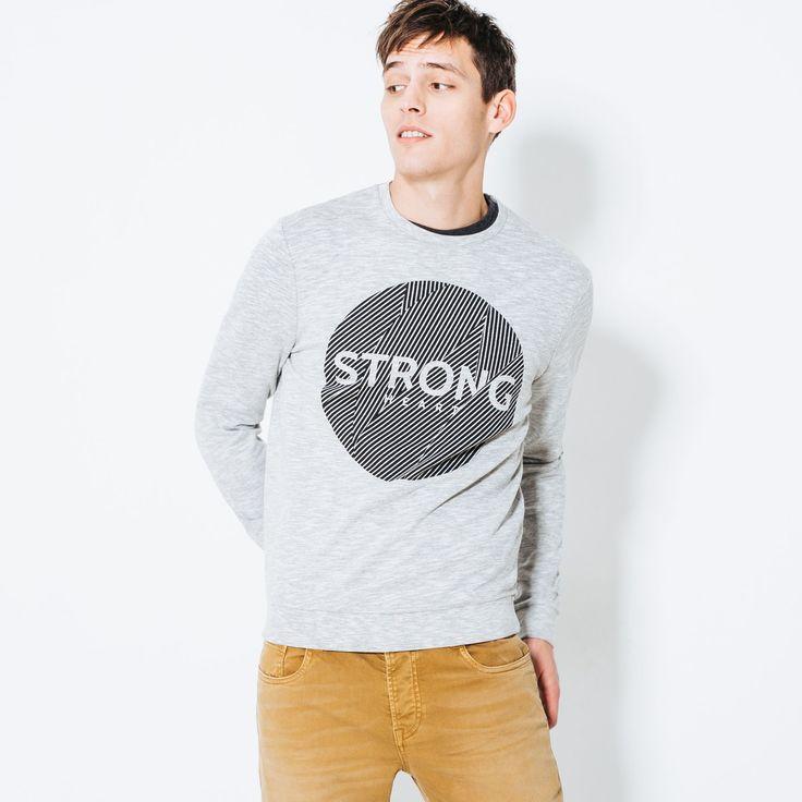 """Sweat imprimé """"Strong"""" devant Gris Chine Clair Homme - Jules"""