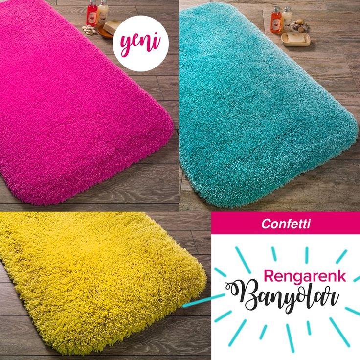 Banyolar renkleniyor! Yepyeni ürünleri ile Confetti banyo halıları Dekorazon.com'da! #dekorazoncom >> http://www.dekorazon.com/rengarenk-banyolar?utm_source=pinterest&utm_medium=post&utm_content=rengarenk-banyolar