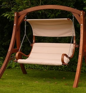 The Kingdom Arc Garden Swing Seat, Delivered Free In The UK. With A  Stainless Steel Swing Chain And Luxury Padded Seat.