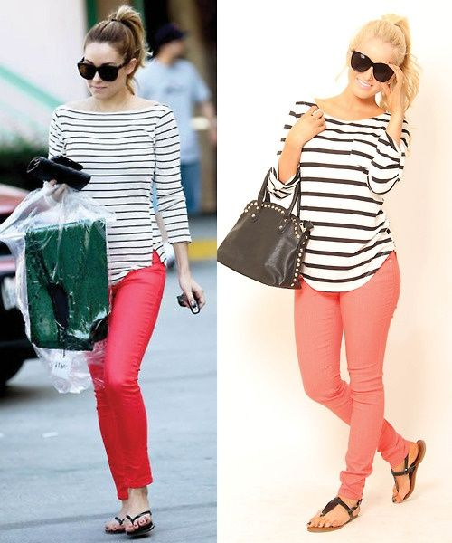 Pair striped shirt with a pop of color for a fun casual for Matching denim shirt and jeans
