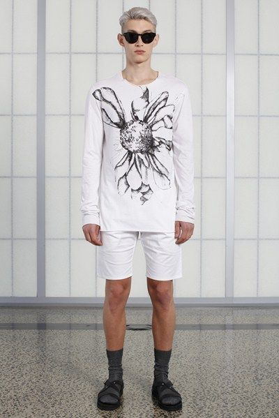 s/s 13/14 mens key looks - M02. sunflower print tee in organic white, fitted short in white, jetson tinted eyewear.