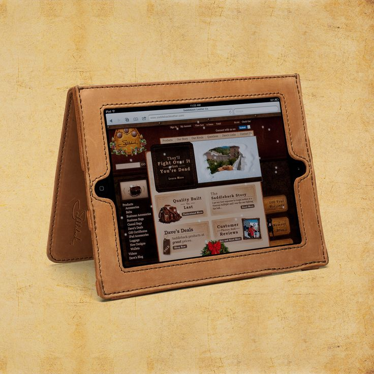 Beautiful leather iPad case by Saddleback