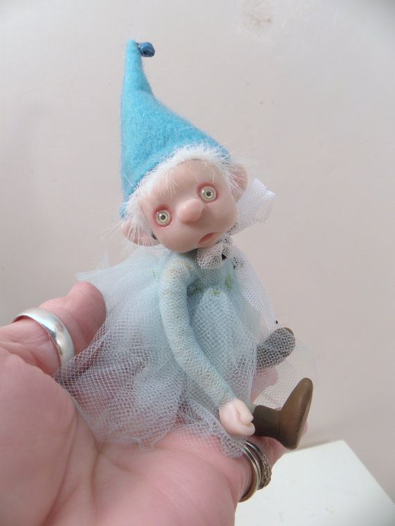ooak poseable baby blue GNOME TODDLER pIXie fairy by dinkydarlings, $129.00