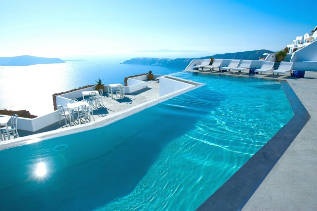 The Infinity Pool in Santorini, Greece  Follow pic for more pics