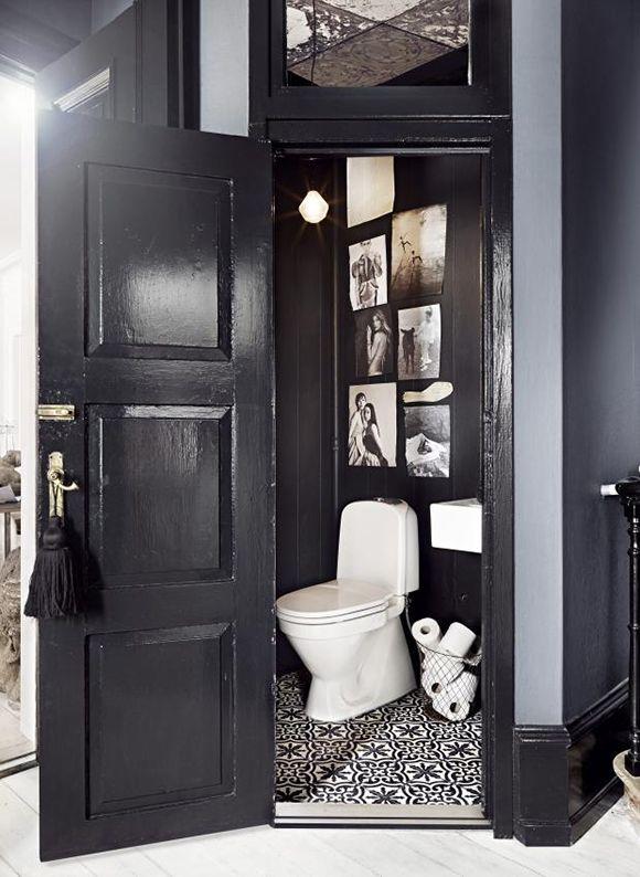dark walls + striking moroccan tiles
