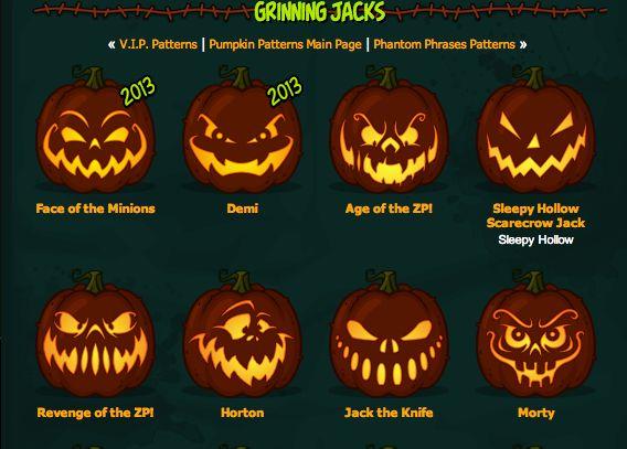 http://www.zombiepumpkins.com/patterns/jacks  Grinning Jack O Lantern pumpkin carving templates
