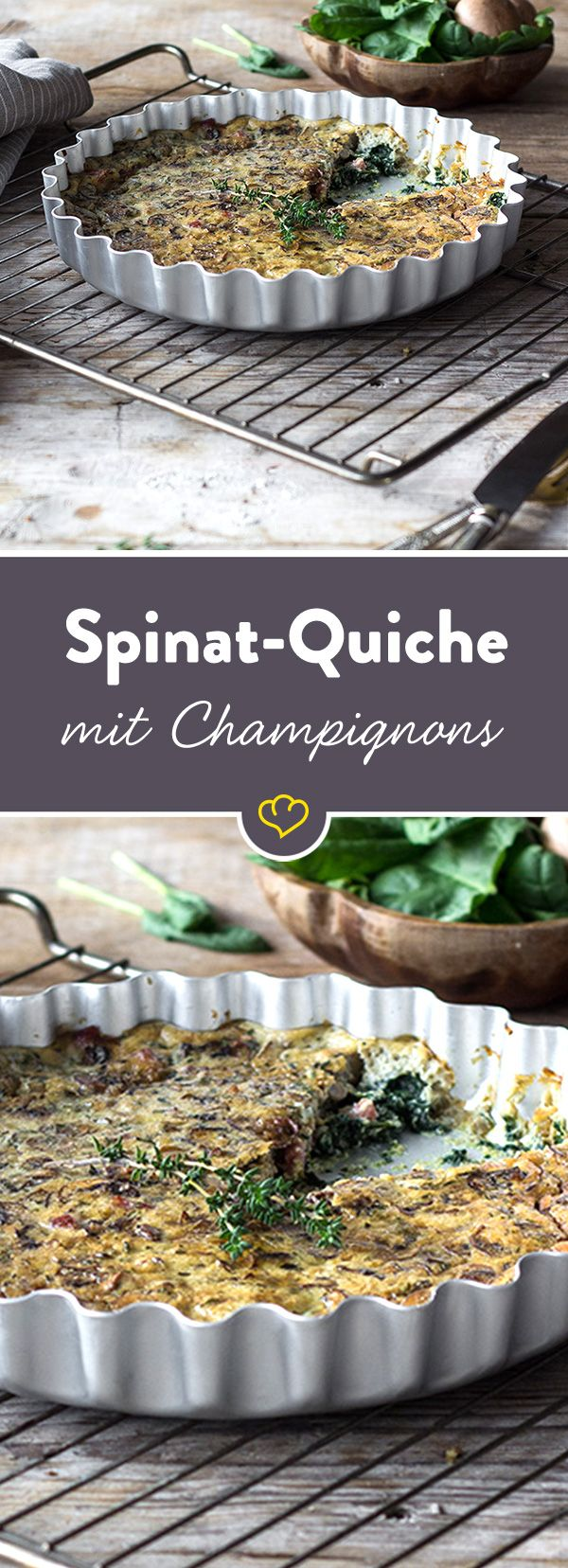 Die goldbraune Spinat-Quiche kommt ganz ohne Kohlenhydrate aus und lässt sich prima für den Büro-Lunch vorbereiten und mitnehmen. Probier es gleich aus!
