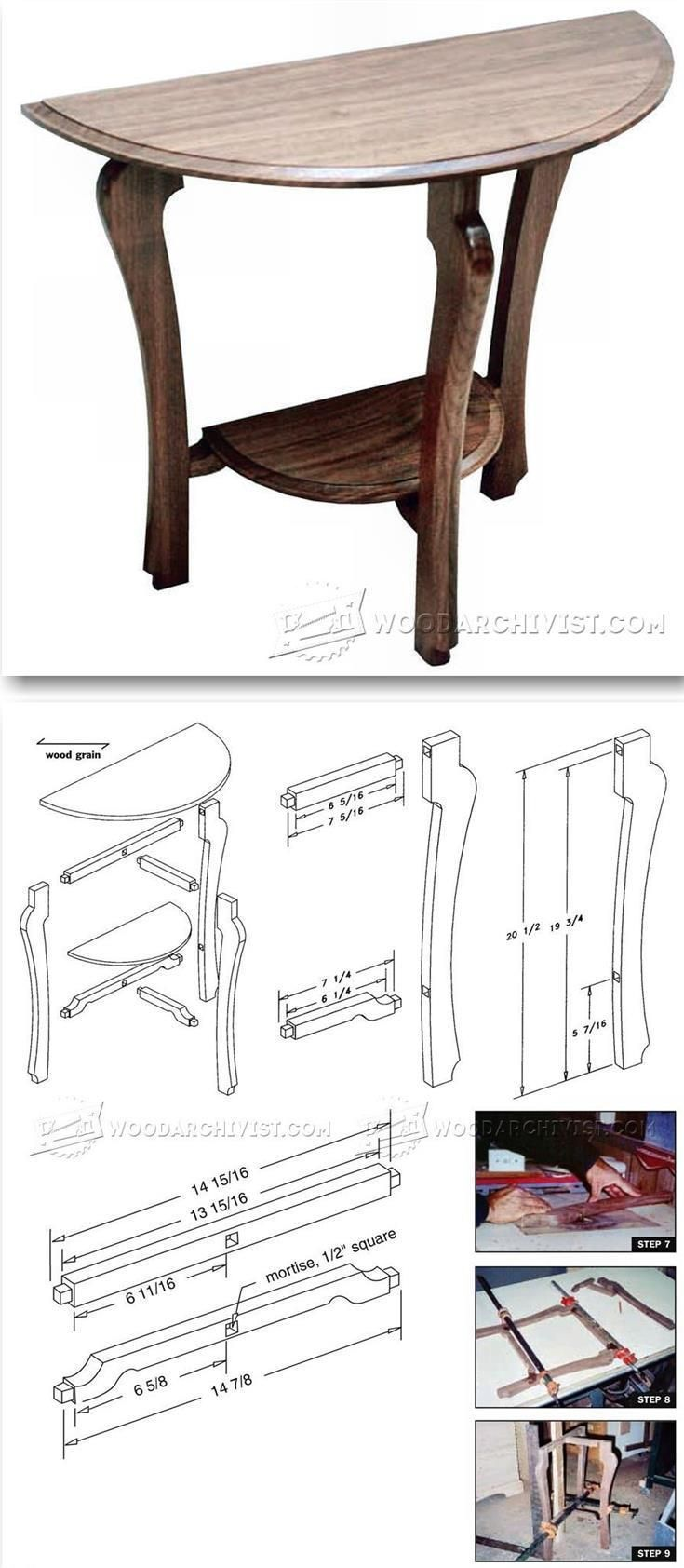 Half Moon Table Plans - Furniture Plans and Projects | WoodArchivist.com #woodworkingplans