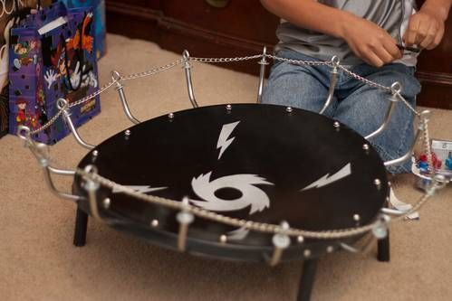 Beyblade (battling tops) stadium - Made from old satellite dish.
