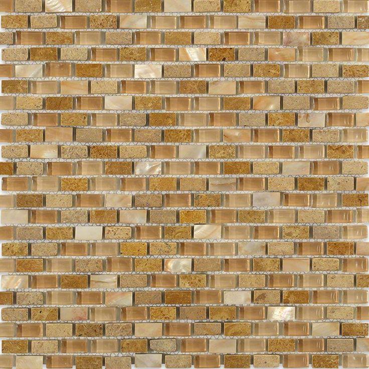 Shop 11 1 2 x12 paragon sunray cave mini brick pattern for Tumbled glass tile