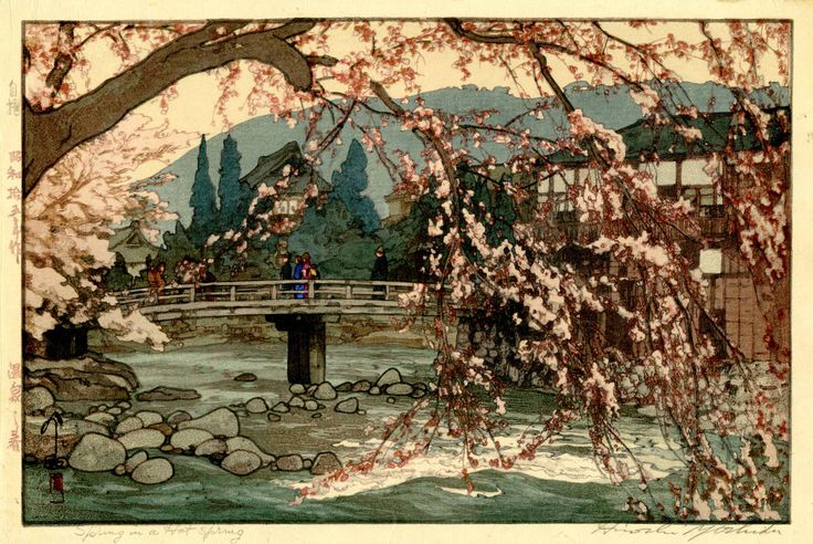 Spring in a Hot Spring | From a unique collection of landscape prints at https://www.1stdibs.com/art/prints-works-on-paper/landscape-prints-works-on-paper/