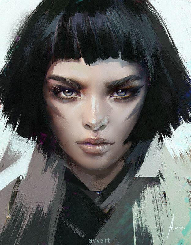 Black hair, Aleksei Vinogradov on ArtStation at https://www.artstation.com/artwork/EYPaN