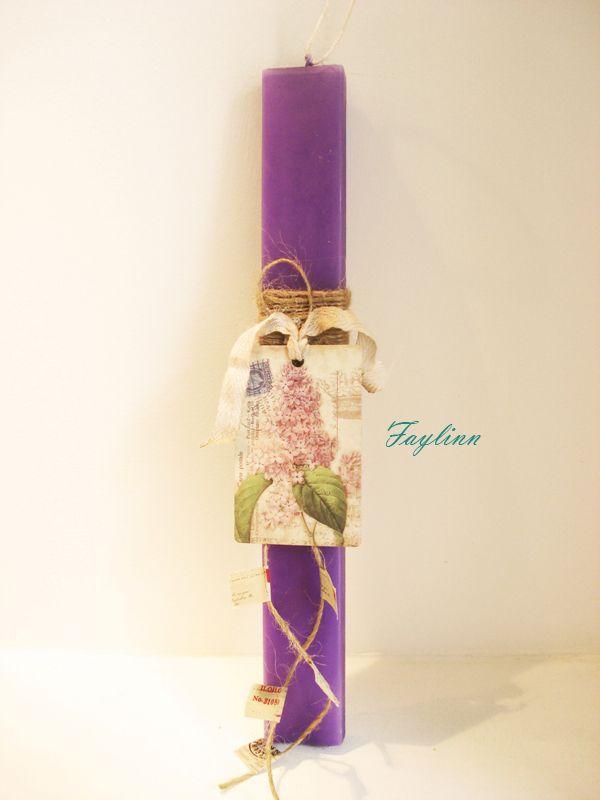 vintage μαγνήτης δεμένος με σπάγκο σε μωβ κερί