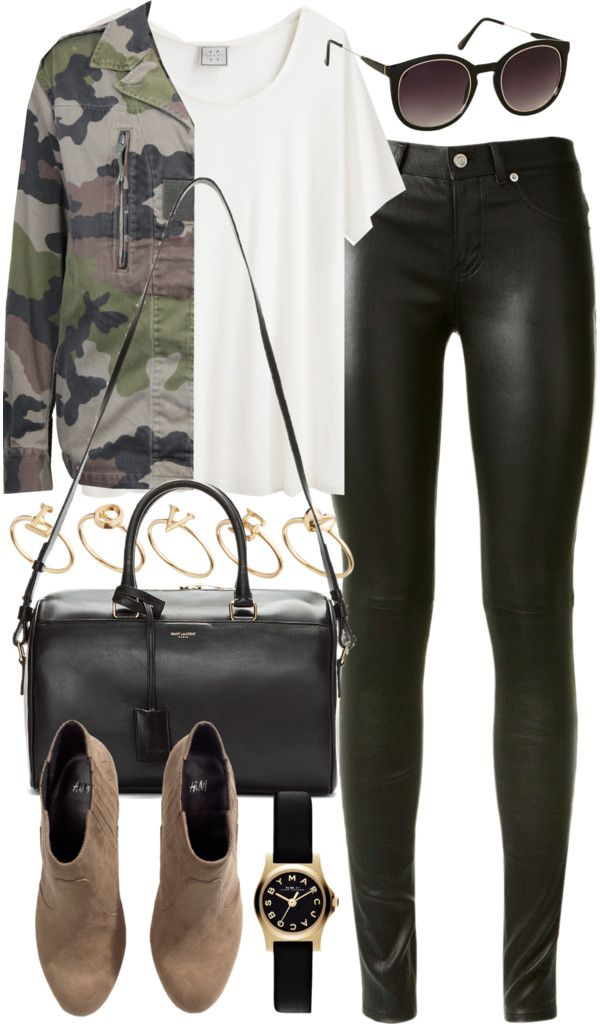 outfit for college by im-emma featuring platform ankle booties Base Range white short sleeve shirt, 61 AUD / Army camo jacket, 52 AUD / Yves Saint Laurent skinny fit pants, 2 935 AUD / H&M platform ankle booties, 29 AUD / Yves Saint Laurent...
