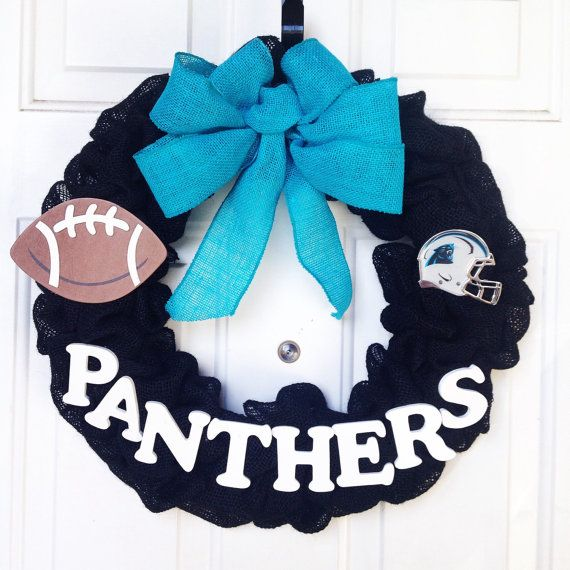 South Carolina Panthers NFL Burlap Wreath by AllAboutTheBurlap