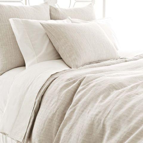 Pine Cone Hill, Inc. - Pinstripe Linen Dove Grey Duvet Cover - King - PSDGDCK