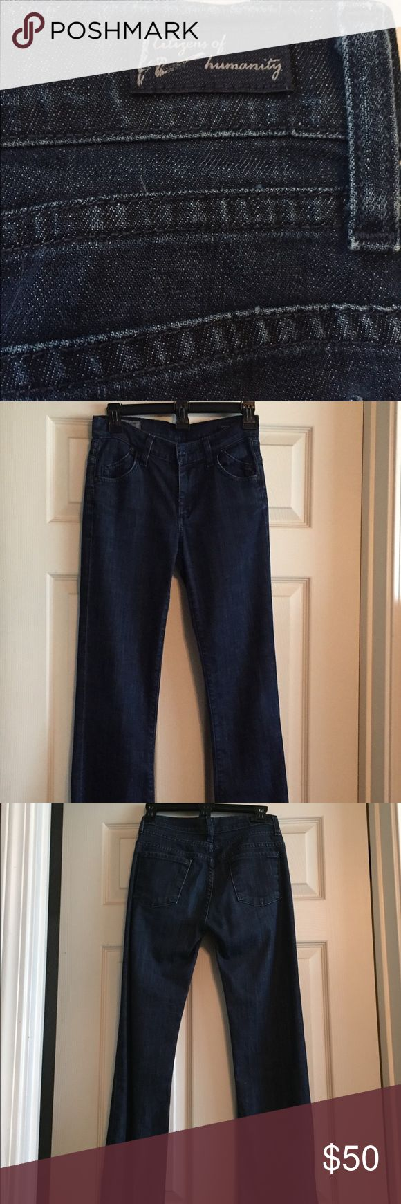 Citizens of Humanity jeans Gently used high rise, wide leg dark blue jeans. Size 25 and in good condition, a nice dark blue. Can be worn as a dressier Jean or trouser Jean for work or just to wear any day! COH is a quality brand! Citizens Of Humanity Jeans Flare & Wide Leg