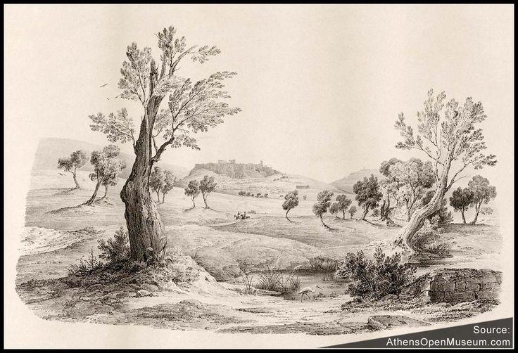"""Κοιτάζοντας προς την Ακρόπολη από την Ακαδημία Πλάτωνος στα 1835. Βινιέτα από το """"Πανόραμα των Αθηνών"""" του F. Stademann."""
