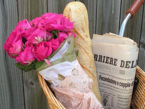 Sure do miss living in Paris: Pink Flowers, Bright Pink, Bike Riding, Fresh Flowers, Bike Baskets, Pink Rose, Saturday Mornings, Bicycle, Sweet Life