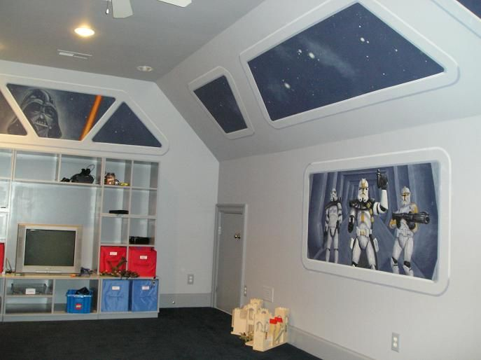 Star Wars room ideas-like the space ship look. Maybe paint something on wood to hang in room instead of directly on walls