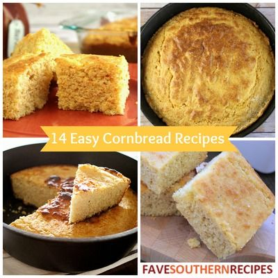 14 Easy Cornbread Recipes - from The South! Southern cornbread recipes and sweet cornbread recipes.