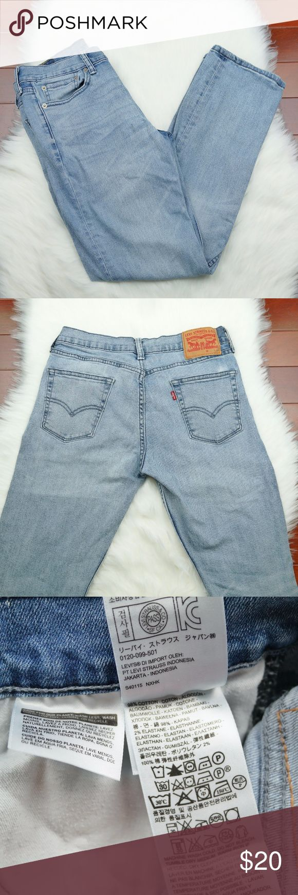"VINTAGE MEN'S JEANS FADED BLUE LEVI STRAUSS & CO Levi Strauss & Co  Inseam: 30""  Waist: 30"" (15"" across back)  Rise: 7""  Leg Opening: 7"" Levi's Jeans"
