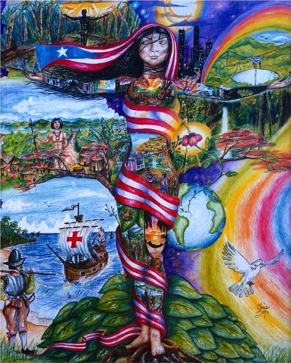 """My Roots Puerto Rico (24x18in) Prints, experience the journey throughout Puerto Rican history over the body of an """"Taína"""" Indian. on Etsy, $45.00"""