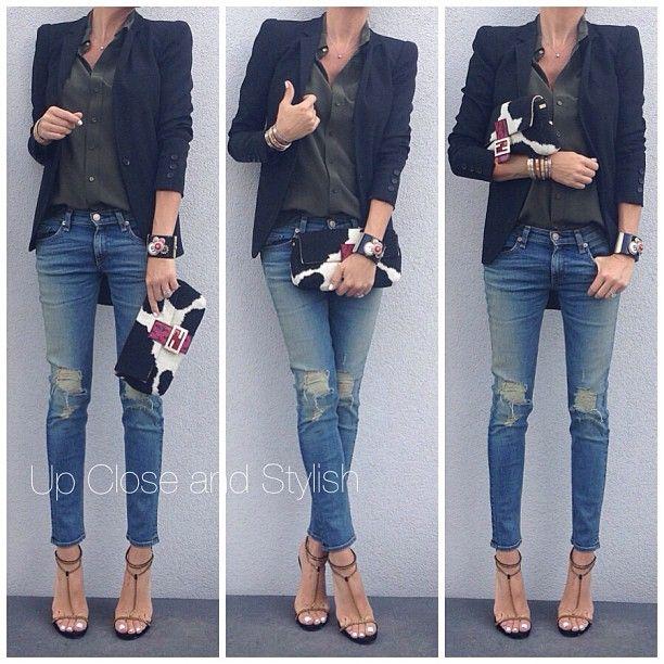 .@upcloseandstylish   Last night - Open back #Gucci blazer and heels, #Joseph top, #Rag_Bone jeans...   Webstagram - the best Instagram viewer