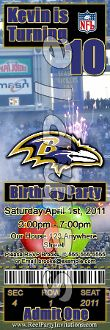BALTIMORE RAVENS TICKET STYLE INVITATIONS (WITH ENVELOPES)