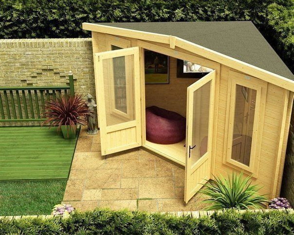 Замечательная идея, как использовать уголок в саду. Сделайте релакс-зону.