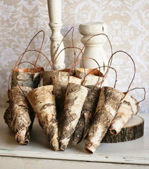 "10 Birch bark hanging cones for wedding or home decor. Can use for flowers or candles. You can decorate with ribbons, flowers and will get a unique decor. 10 pcs -new, handmade,birch bark hanging cones, size 2.5 ""dia, length about 3-3.5""."