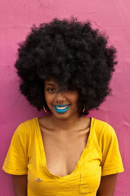 #sweet: Big Hairs, Nature Hairs, Black Power, Funky Fashion, Lips Makeup, Mean Of Life, Hairs Looks, Black Girls, Blue Lipsticks