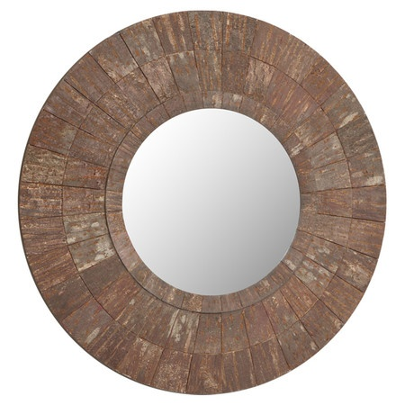 Beveled wall mirror with a coconut shell frame.   Product: MirrorConstruction Material: MDF and mirrored glass