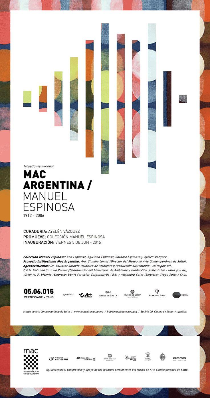 VVArt presente, acompañando como Silver Sponsor al Museo de Arte Contemporáneo de Salta en su proyecto institucional: MAC ARGENTINA > 1° Artista exhibido: Manuel Espinosa [1912-2006] de Argentina. | Período: Junio de 2015 | Salta, Argentina.