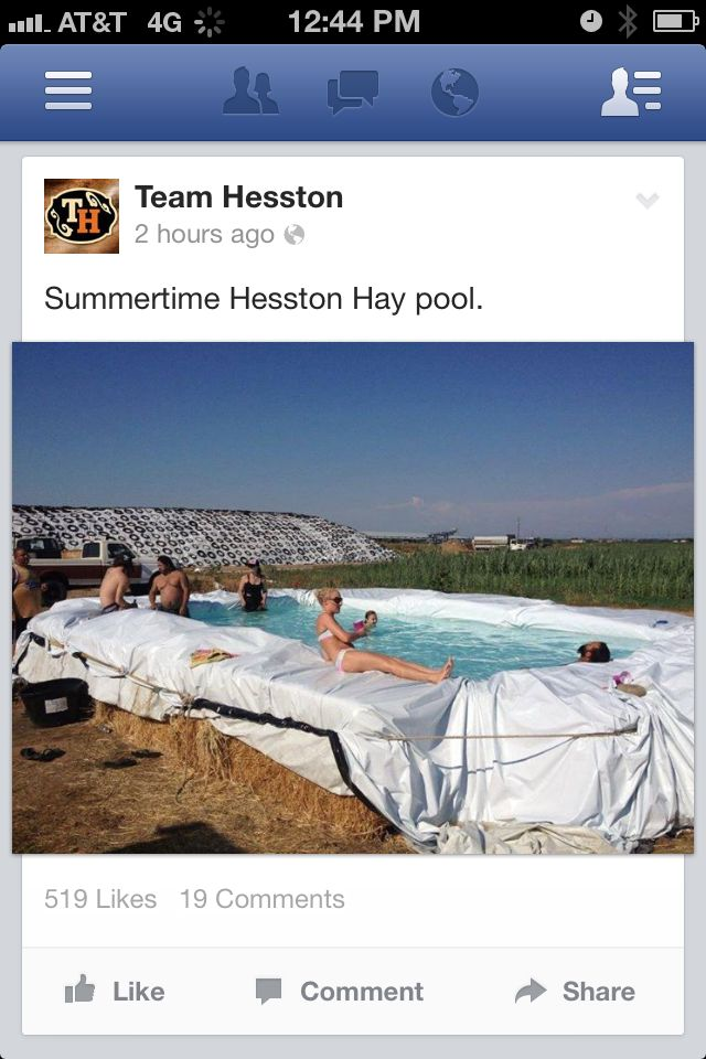 Hay bale pool country girl pinterest - Redneck swimming pool with hay bales ...