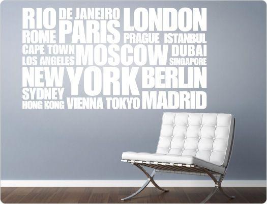 Wandtattoo Städtenamen Weltweit (Nr.1)