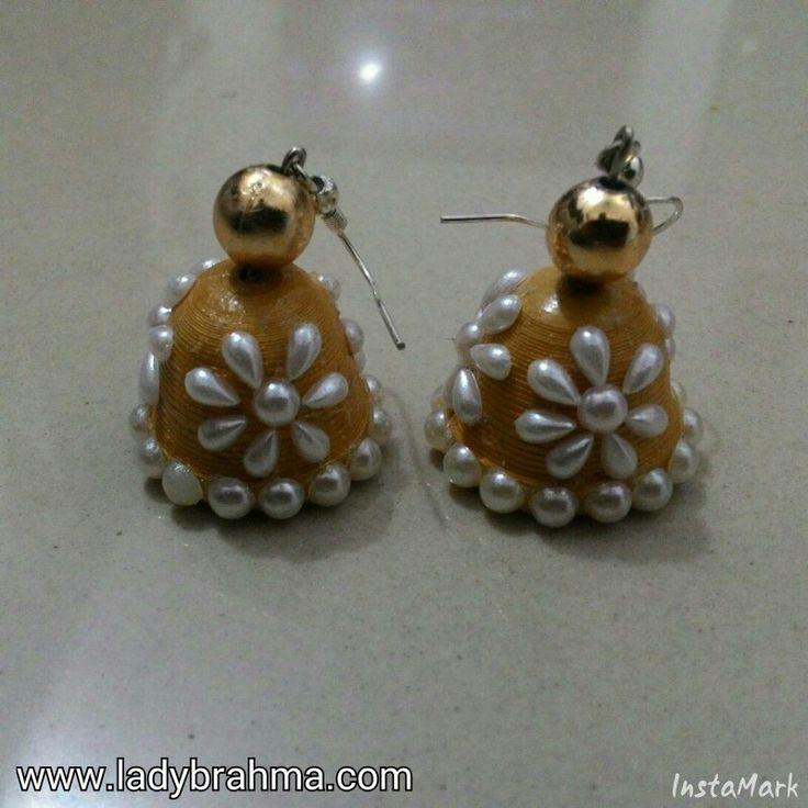 Quilled golden jhumka earrings