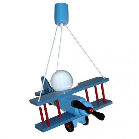 Kinderlamp vliegtuig blauw/rood