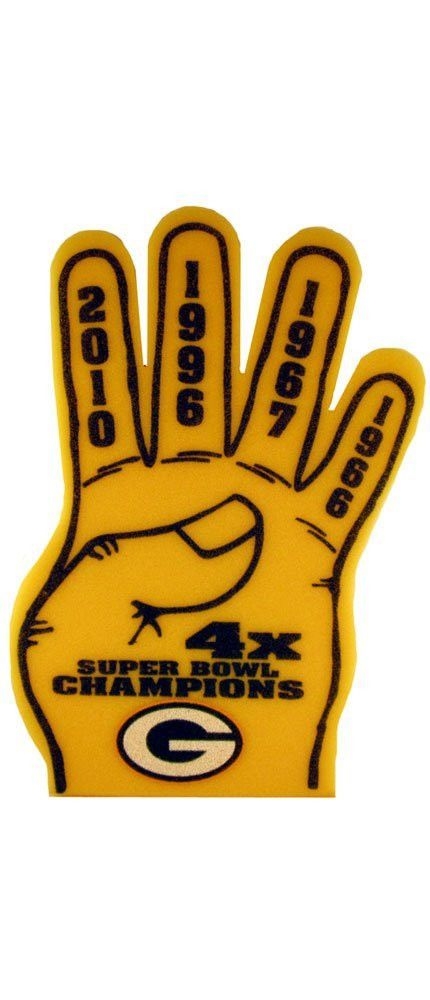 """Hold on to the 2010 Super Bowl Magic with this Green Bay Packers 4X Super Bowl Champions Foam Finger. Each finger boasts a winning year for the Pack and a large Packer """"G"""" logo is on the palm. This Packer Foam Finger measures 19""""H and fits most hands. #greenbay #packers #nfl"""