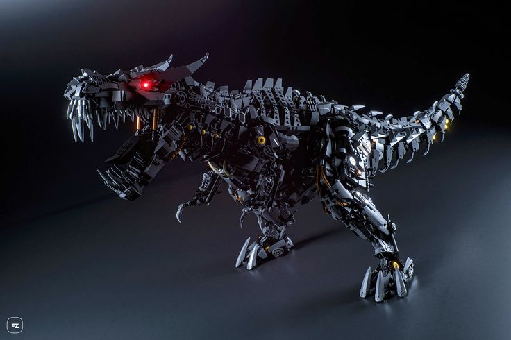 https://flic.kr/p/Hn72bx | Lego Grimlock | Lego Grimlock, the leader of the Dinobots from the film Transformers 4 - Age of Extinction. I'm very happy to show you this model finished, sorry for waiting. Special thanks to Gabriele Zannotti for making these amazing renders!  This is a big model (4410 parts), the maximum length is almost 1 m. For this reason the internal structure is made with technic parts to keep the body lightweight and strong. Also there are gears and mechanisms that allow…