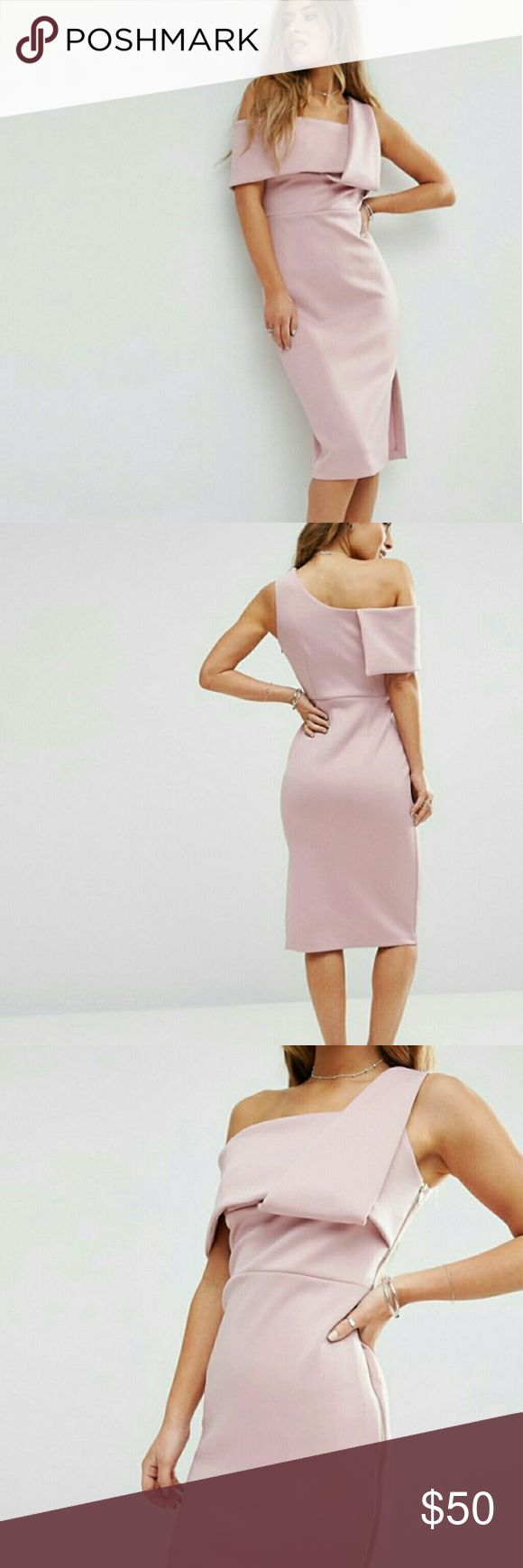 ASOS Petite One Shoulder Fold Scuba Dress Mauve/Blush one shoulder semiformal dress UK12 US10 ASOS Petite Dresses One Shoulder