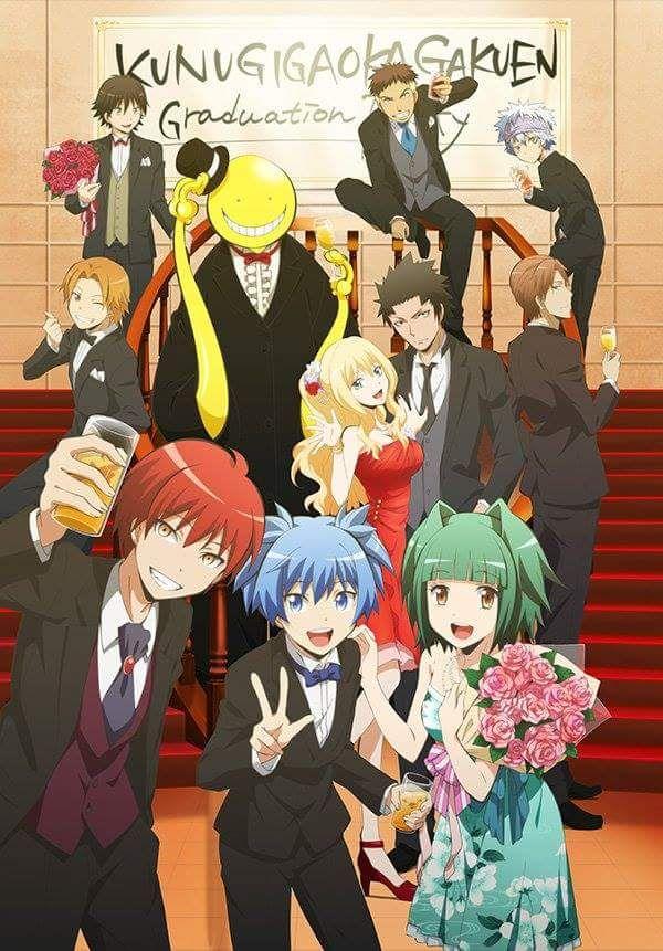ANSATSU KYOUSHITSU/ASSASSINATION CLASSROOM, Key Visual, Congratulation, Celebrate Graduated!!!, Koro-sensei, Karasuma-sensei with Erina-sensei, Asano-sensei, Student 3-E Room