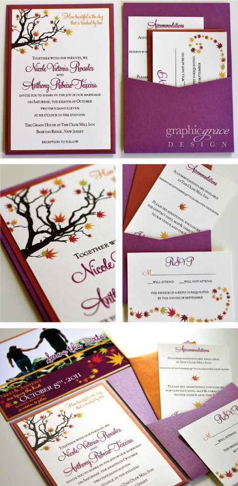 Purple & Copper Fall Wedding invitations by Dani Ploscik