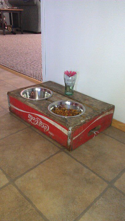 Creative use of a crate, for a dog or cat!