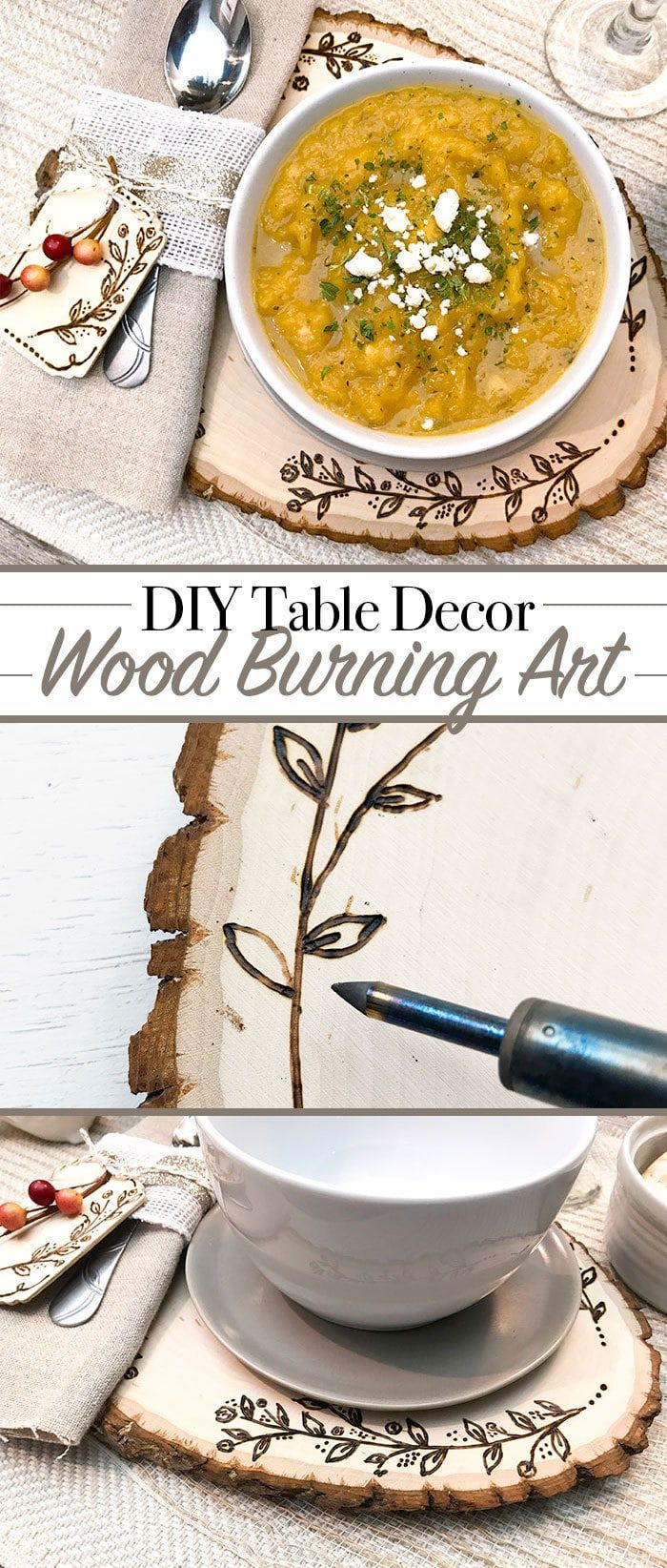DIY Wood Burning Art Table Decor and Place Settings - designed by Jen Goode